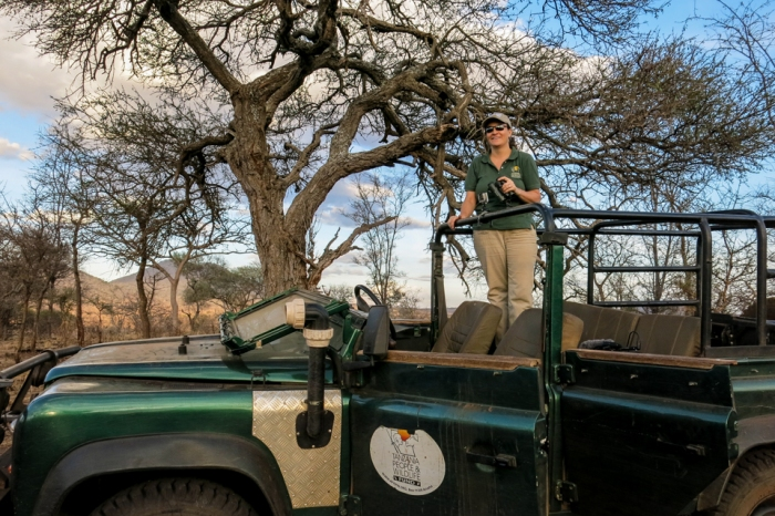 Conservationist and National Geographic grantee Laly Lichtenfeld shows off one of her favorite hills for wildlife spotting near Tarangire National Park.