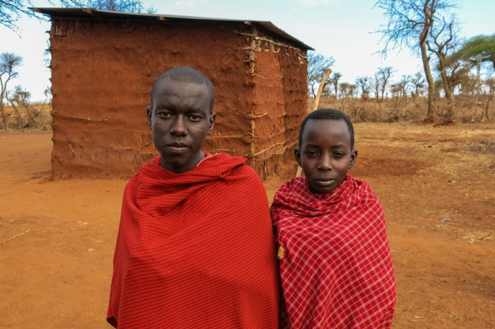 Two young Maasai boys ask to have their picture taken. They wanted to see what they looked like immediately after.