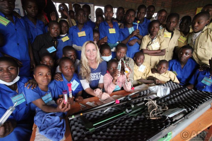 Dr. Dawn with an Art of Conservation class in Rwanda.