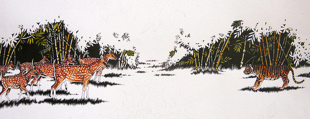 The Stand Off, blind cub and spotted deer (c) Kay Hassall Tiwari