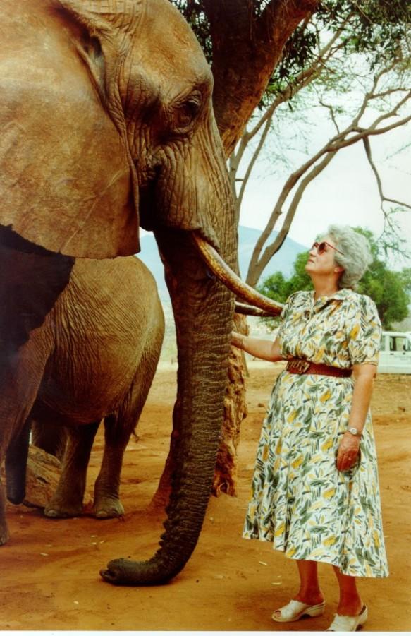 Daphne Sheldrick and Eleanor. Photograph courtesy the David Sheldrick Wildlife Trust.