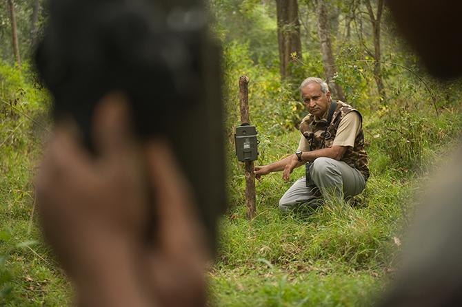Ullas Karanth setting up camera traps to capture Tiger movements. ©WCS