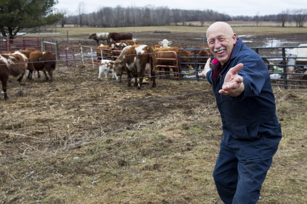 Dr. Pol celebrating a successful calving. Photograph by Michael Stankevich, National Geographic Channel.