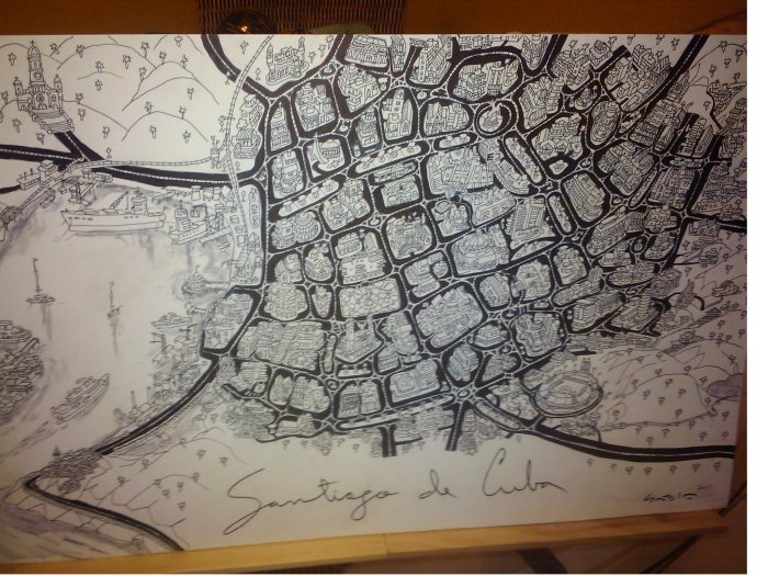 santiago-de-cuba-tinta-en-cartulina-watercolor-24x14